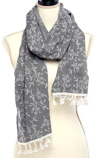 Grey Polyester Cotton Embroidered With Tassel Scarf