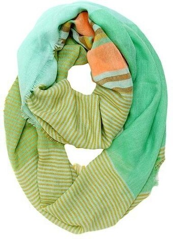 Mint and Coral Polyester Infinity Scarf