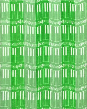 Green Polyester 21x21 Satin Stripe Piano Keyboard Scarf
