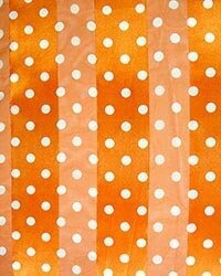Orange Polyester 21x21 Satin Stripe Polka Dots Scarf