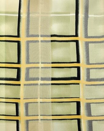 Sage and Yellow Polyester 21x21 Satin Stripe Scarf