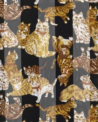 Black Polyester 21x21 Satin Stripe Cats Scarf