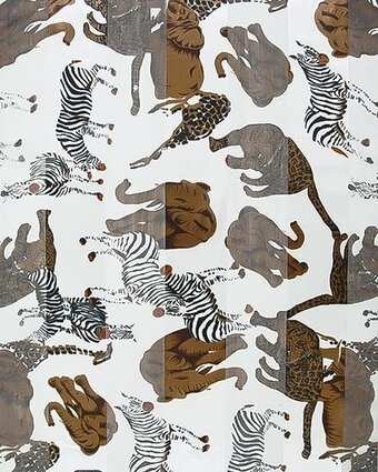 White Polyester 21x21 Satin Stripe Animals Scarf