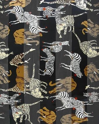 Black Polyester 21x21 Satin Stripe Animals Scarf