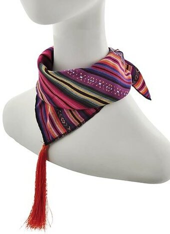 Multi Color Polyester and Cotton Stripe Tassel Scarf
