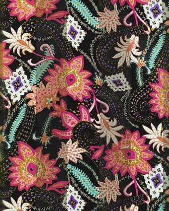 Black Polyester 21x21 Satin Stripe Multi Flowers Scarf