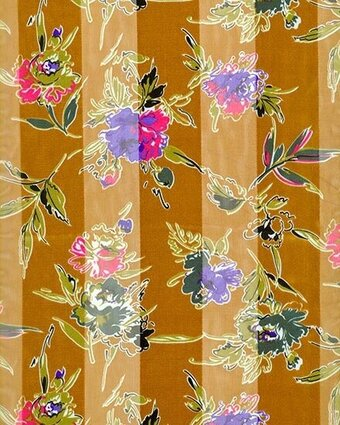 Gold Polyester 21x21 Satin Stripe Flower Scarf