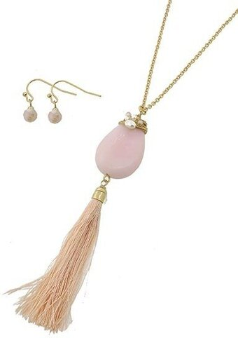 Gold Tone Pink Semi-precious Stone Tassel Necklace