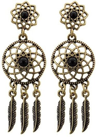 Gold Tone Black Acrylic Post Dreamcatcher Dangle Earrings
