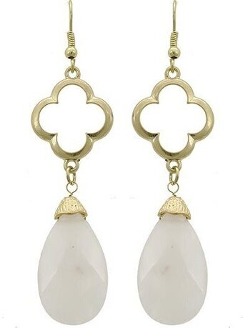 Light Pink Semi-precious Stone Teardrop Dangle Earrings