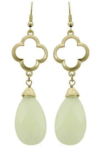 Mint Semi-precious Stone Teardrop Dangle Earrings