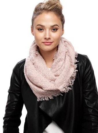 Pink 100% Acrylic Solid Embossing Infinity Scarf