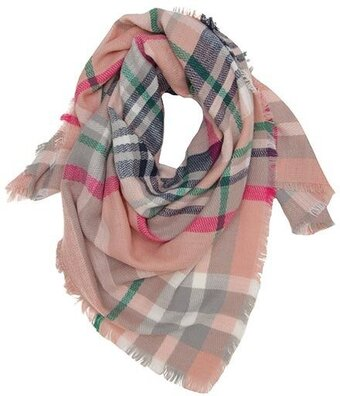 Pink Acrylic Check Pattern Square Scarf