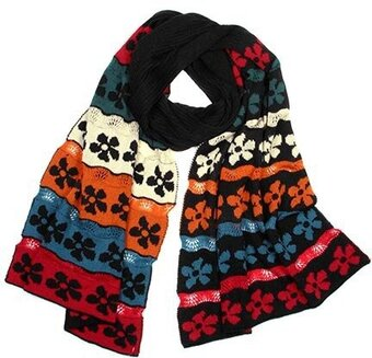 Black and Multi-Color Acrylic Flower Knit Scarf