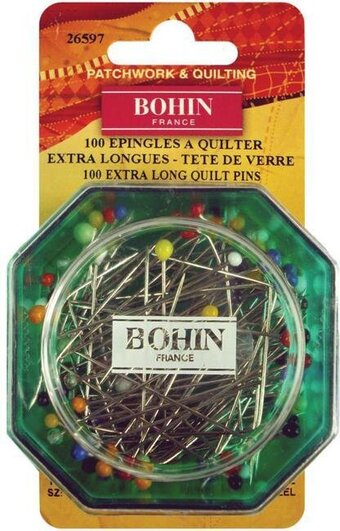 Bohin Glass Head Quilting Pins - Size 30