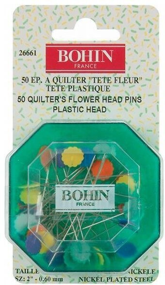 Bohin Quilter's Flower Head Pins Assorted Colors - Size 32