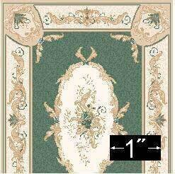 Aubusson Green Rug - Dollhouse Miniature