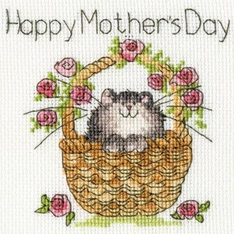Basket of Rose - Happy Mother's Day Card - Cross Stitch Kit