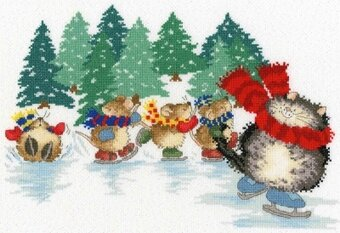 Mice Skating Margaret Sherry - Cross Stitch Kit