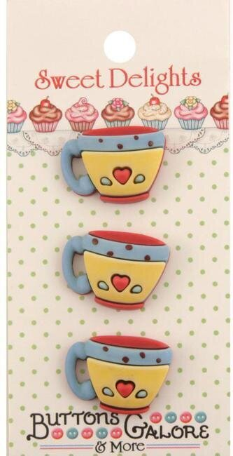 Sweet Delights Buttons - Coffee Cups