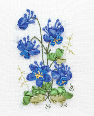 Columbine Flowers - Ribbon Embroidery Kit