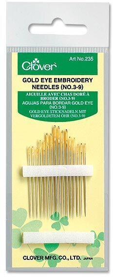 Clover Gold Eye Embroidery Needles Size 3-9