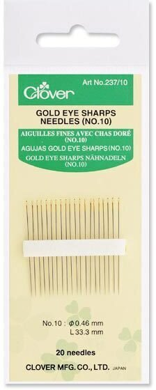 Clover Gold Eye Sharps Needles Size 10