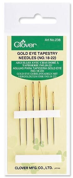 Clover Gold Eye Tapestry Needles Size 18/22