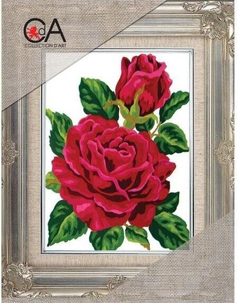 Red Rose and Rose Bud - Stamped Needlepoint Kit