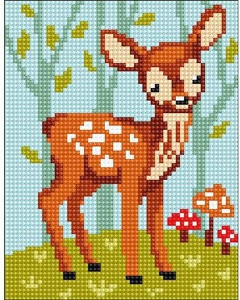 Vervaco White Tailed Deer Pillow Cover Needlepoint Kit