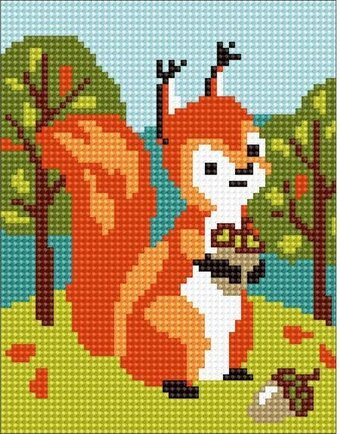 Squirrel - Stamped Needlepoint Kit