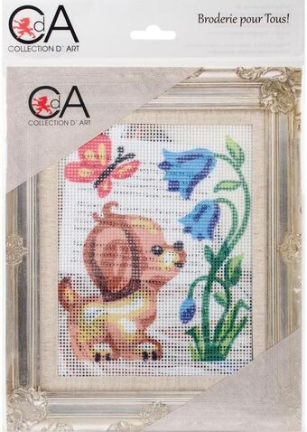 Puppy With Butterfly - Stamped Needlepoint Kit