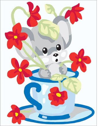 Mouse In Cup - Stamped Needlepoint Kit