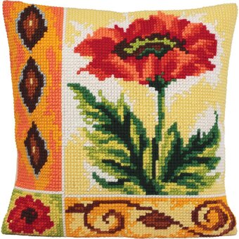Coquelicot Vaillant - Stamped Needlepoint Cushion Kit
