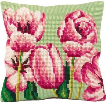 Tulipe A Gauche Pillow - Needlepoint Kit