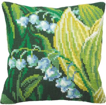 Muguet Droite Flowers - Stamped Needlepoint Cushion Kit