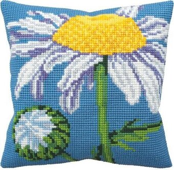 Marguerite Flowers - Stamped Needlepoint Cushion Kit