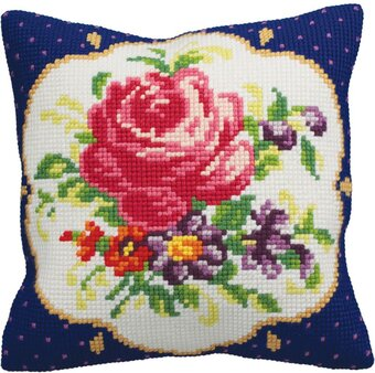 Meissen Gauche Flowers - Stamped Needlepoint Cushion Kit