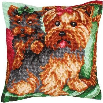 Dogs On The Armchair - Stamped Needlepoint Cushion Kit