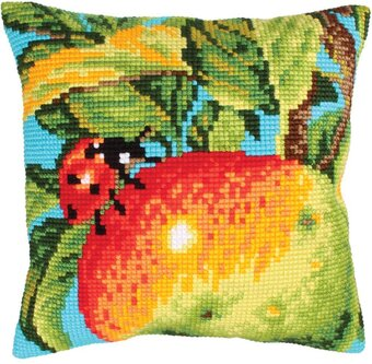 Ladybug On The Apple - Stamped Needlepoint Cushion Kit