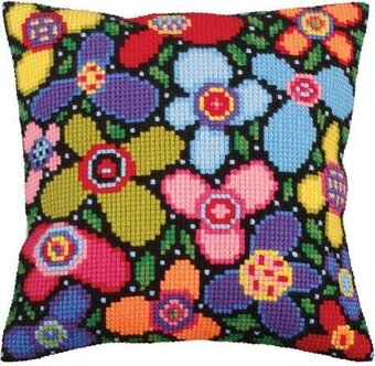 Flower Glade - Stamped Needlepoint Cushion Kit