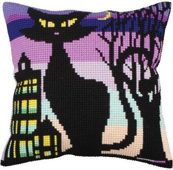 Black Grace II - Stamped Needlepoint Cushion Kit