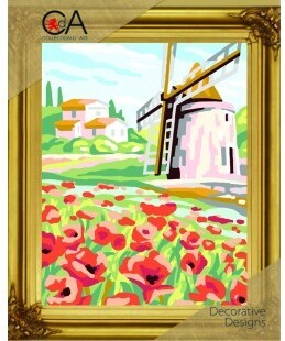 Windmill And Poppies - Stamped Needlepoint Kit
