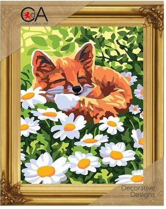 Fox and Daisies - Printed Tapestry Canvas - Needlepoint Kit