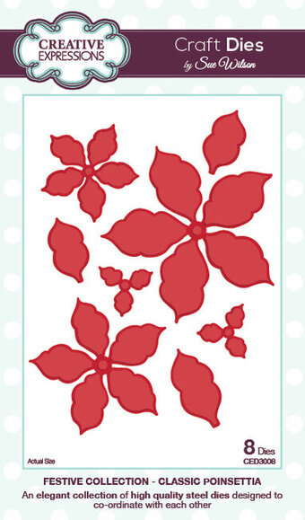 Sue Wilson Dies - Festive Collection - Classic Poinsettia