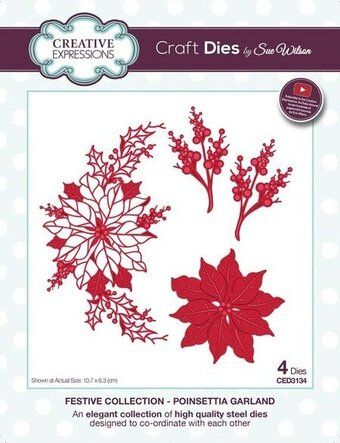 Sue Wilson Christmas Dies - Poinsettia Garland