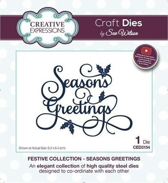 Sue Wilson Christmas Dies - Seasons Greetings