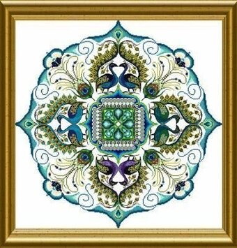 Sparkling Peacock Mandala, The - Cross Stitch Pattern