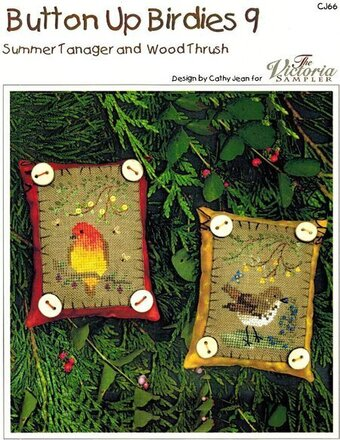 Button Up Birdies #9 - Summer Tanager & Woodthrush