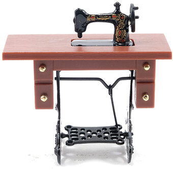 Sewing Machine on Brown Stand - Dollhouse Miniature